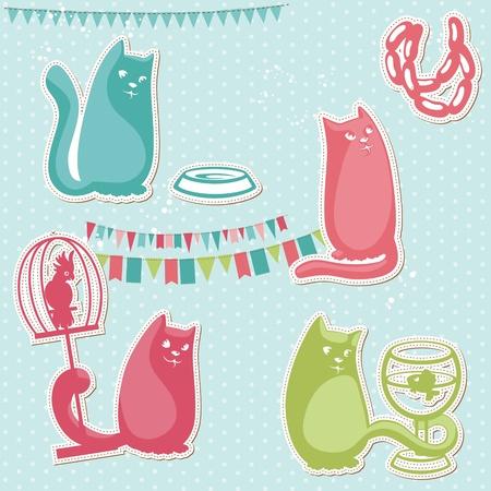 Scrapbook Design Elements - Funny cats Vector