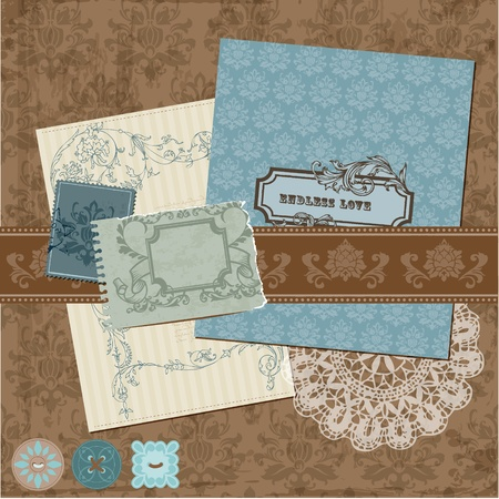 Scrapbook Design Elements - Vintage Flowers and Frames Stock Vector - 12185856