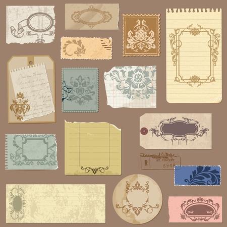 cartone strappato: Set di vecchia carta con telai d'epoca e gli elementi di Damasco