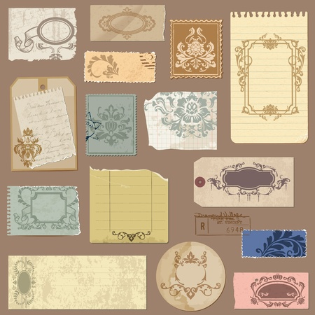 Set of Old paper with Vintage Frames and Damask elements  Vector