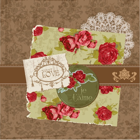 Scrapbook Design Elements - Vintage Flowers and Frames in vector Stock Vector - 12185855