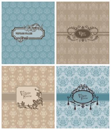 Conjunto de hermosas tarjetas de retro-por invitaci�n de la boda, saludos,