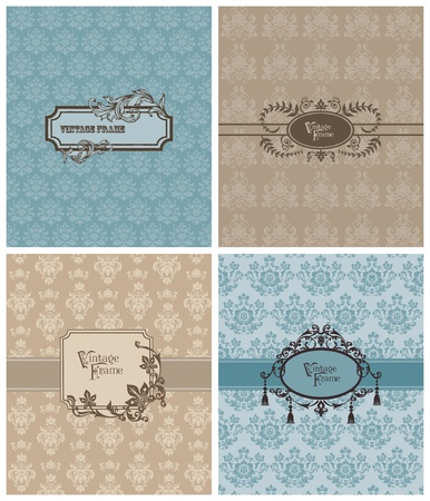 wedding card design: Set of Beautiful Retro Cards - for invitation, greetings, wedding