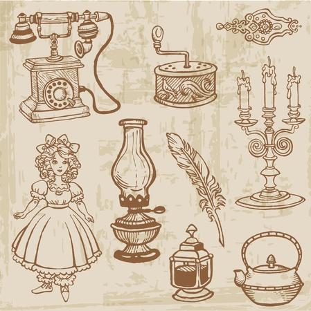 muneca vintage: Juego de Varios Elementos Doodle Vintage - dibujado a mano