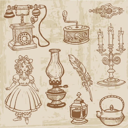 vintage telephone: Set of Various Vintage Doodle Elements - hand drawn