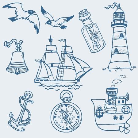 mouettes: Doodles nautiques � main tir� la collecte Illustration