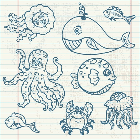 Marine life doodles - Hand drawn collection  Vector