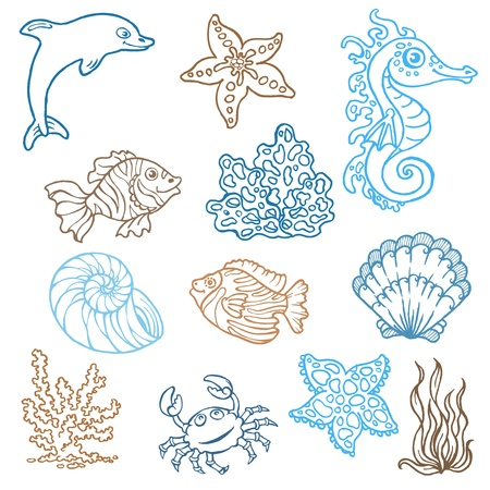 Marine life doodles - Hand drawn collection