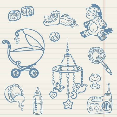 baby scrapbook: Baby doodles - Hand drawn collection