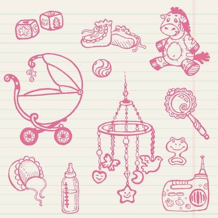 baby carriage: Baby doodles - Hand drawn collection