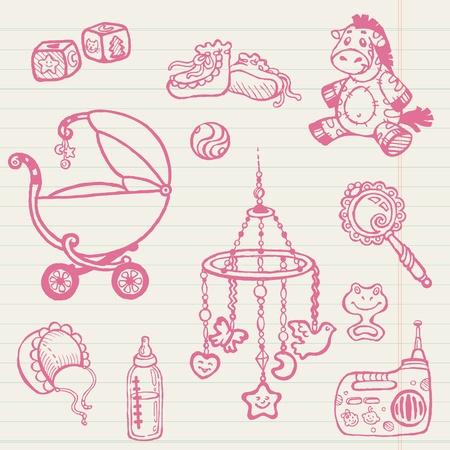 Beb�s y garabatos de recogida Dibujado a mano Vectores