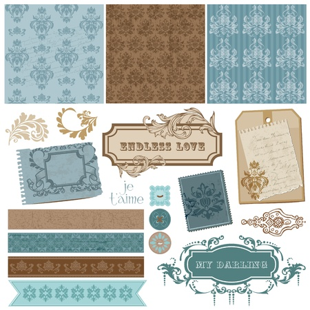Elegant Scrapbook Design Elements - Vintage Frames and Damask elements  Vector