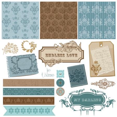 Elegant Scrapbook Design Elements - Vintage Frames and Damask elements  Vector