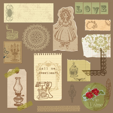 retro sticker: Set of Old paper with Vintage Goods - for your design and scrapbook  Illustration