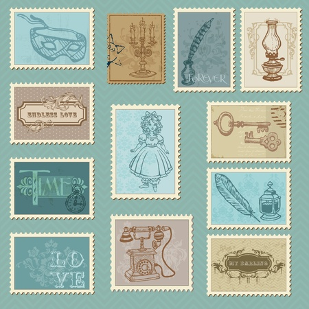 old wife: Retro Postage Stamps - for wedding design, invitation, congratulation, scrapbook Illustration