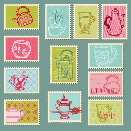 tea ceremony: Funny Teapots and Cups Postage Stamps - for design, invitation, congratulation, scrapbook