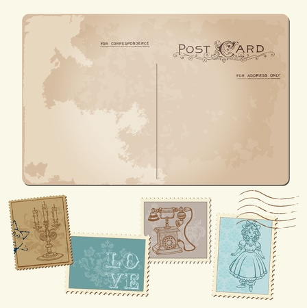 Vintage Postcard and Postage Stamps - for wedding design, invitation, congratulation, scrapbook Stock Vector - 12185893