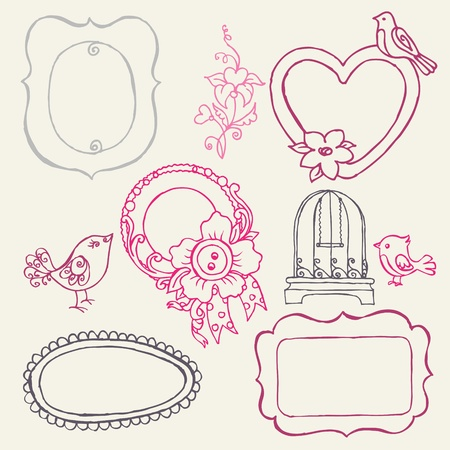 Sweet Doodle Frames with Birds and Flower Elements -  Vector
