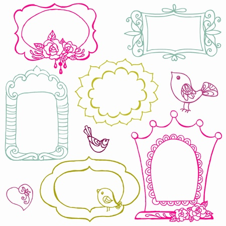Sweet Doodle Frames with Birds and Flower Elements  Vector