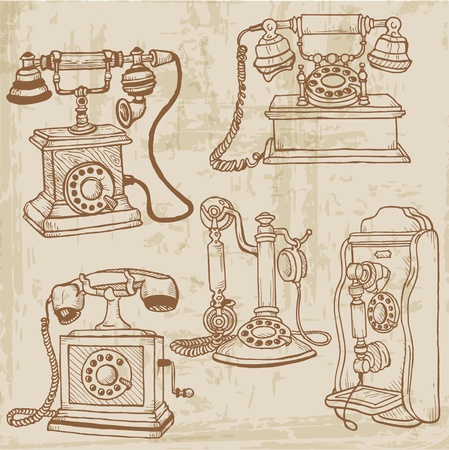 vintage telephone: Set of Vintage Telephones - hand drawn Illustration