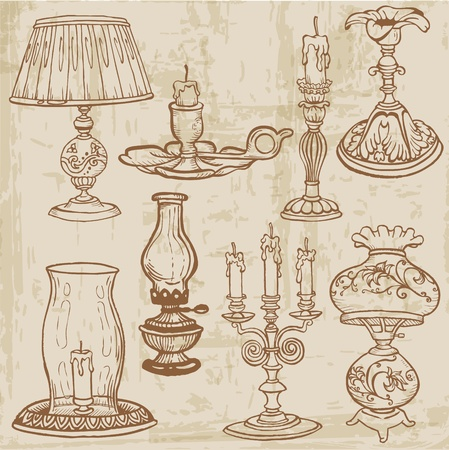 Set of Vintage Lamps and Candles - hand drawn  Illustration