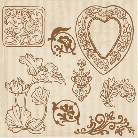Set of Vintage Flowers and Floral Elements - hand drawn