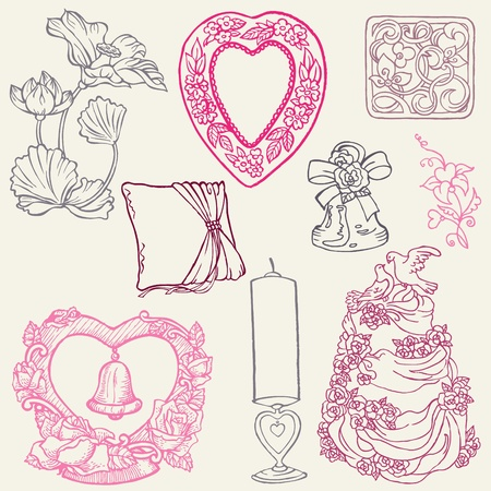 hand bells: Set of Beautiful Wedding Hand Drawn Elements