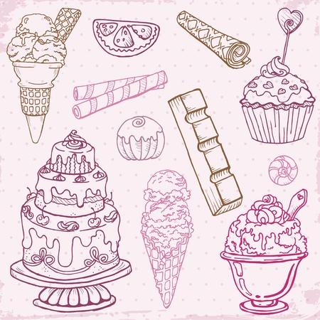 beignet: Ensemble de g�teaux, bonbons et desserts - dessin� � la main