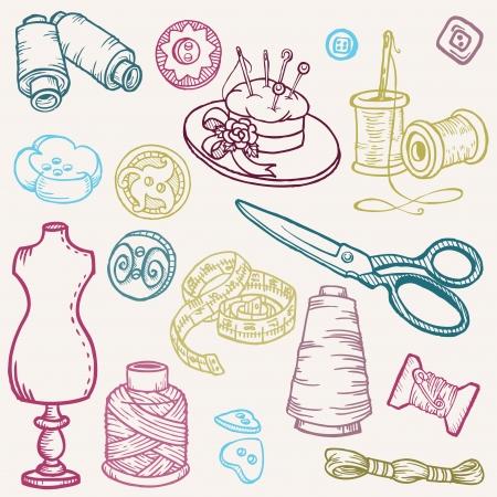 n�hzeug: N�hzeug Doodles - Hand gezeichnet Design-Elemente Illustration