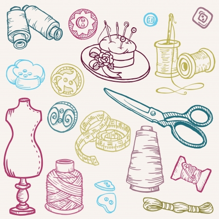 Sewing Kit Doodles - hand drawn design elements  Vector
