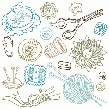 needlework: Doodles - Kit per cucire a mano gli elementi di design disegnati Vettoriali
