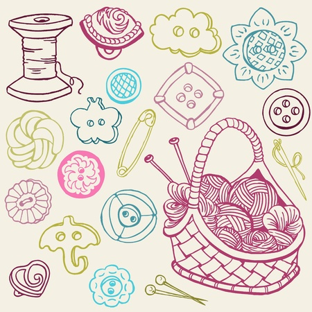 scrapbook homemade: Sewing Kit Doodles - hand drawn design elements