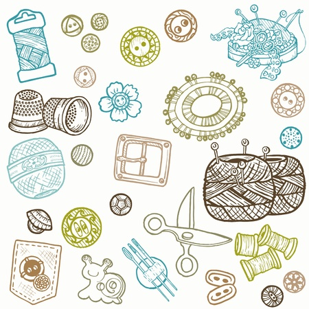 needle cushion: Sewing Kit Doodles - hand drawn design elements