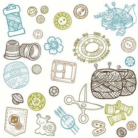 thimble: Sewing Kit Doodles - hand drawn design elements