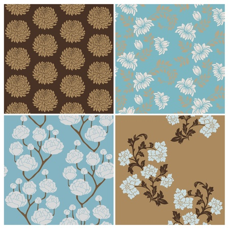 Seamless Floral Background Beautiful Set - for your design and scrapbook  Stock Vector - 12185919