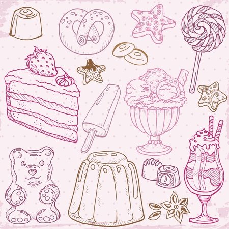 layout strawberry: Set of Cakes, Sweets and Desserts - hand drawn Illustration