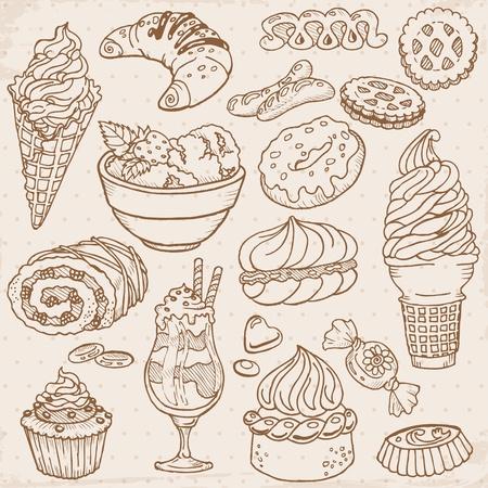 와플: 케이크, 과자 및 디저트 세트 - 손으로 그린