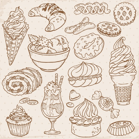 layout strawberry: Set of Cakes, Sweets and Desserts - hand drawn
