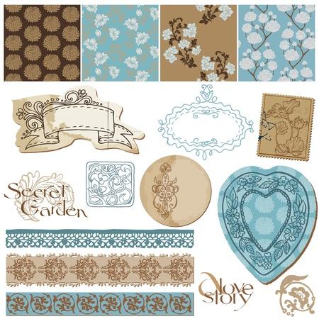 Scrapbook Design Elements - Vintage Flower Wallpapers and Vintage Elements Vector
