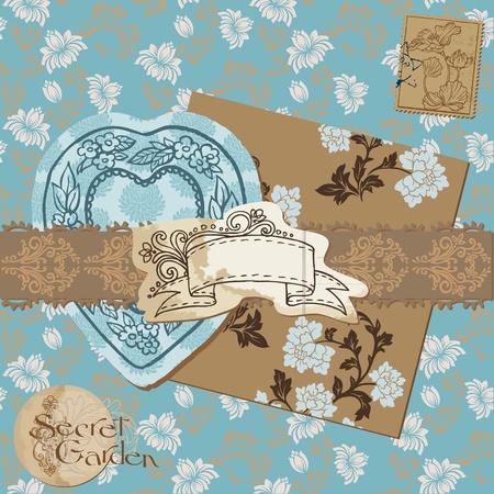 Scrapbook Design Elements - Vintage Flower Wallpapers and Vintage Elements Stock Vector - 12185932