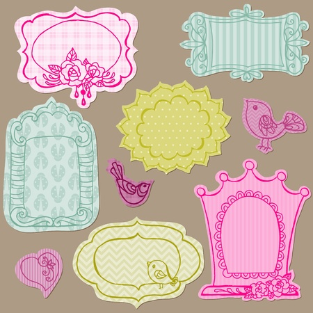 Set of Cute Doodle Frames - with Flower Elements and Birds  Vector