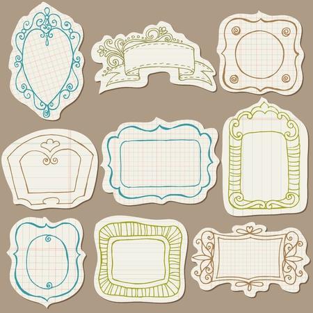 Doodle conjunto de marcos en papel rasgado - con elementos de flores Vectores