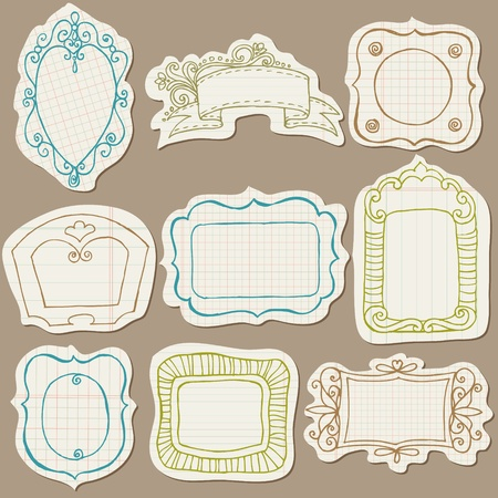 Set of Doodle Frames on torn paper - with Flower Elements  Vector