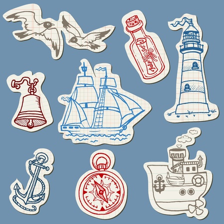 Nautical doodles on Torn Paper- Hand drawn collection  Vector