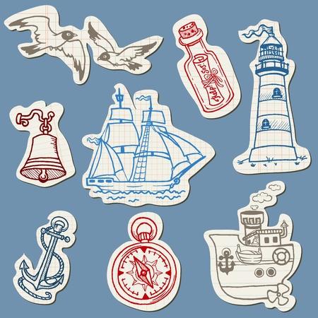 anker: Nautical Kritzeleien auf Torn Paper-Hand gezeichnet Sammlung