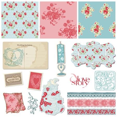 Scrapbook Vintage Wedding Collection - design elements for invitation, decoration Stock Vector - 12185989