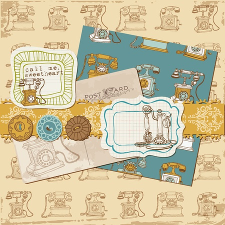 Scrapbook Design Elements - Vintage Telephones  Vector