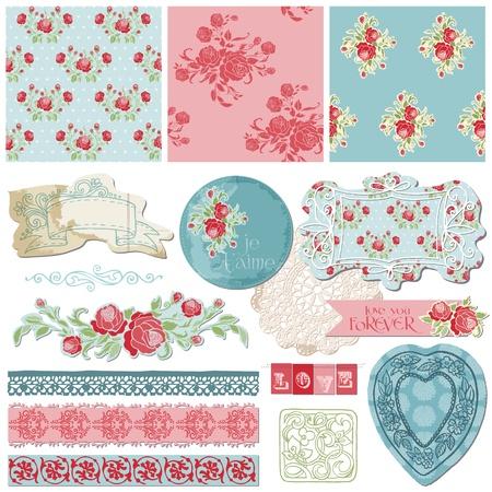 Elementos de dise�o del libro de recuerdos - Vintage Flores