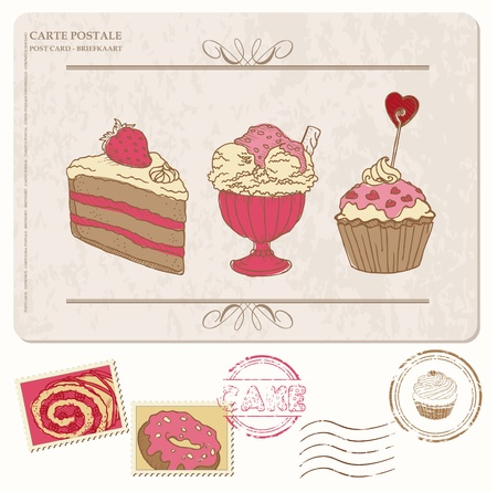 Set of cupcakes on old postcard with stamps - for design and scrapbooking Vector
