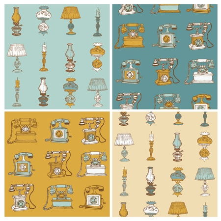 Set of Seamless Backgrounds with Vintage Telephones and Lamps - hand drawn  Vector